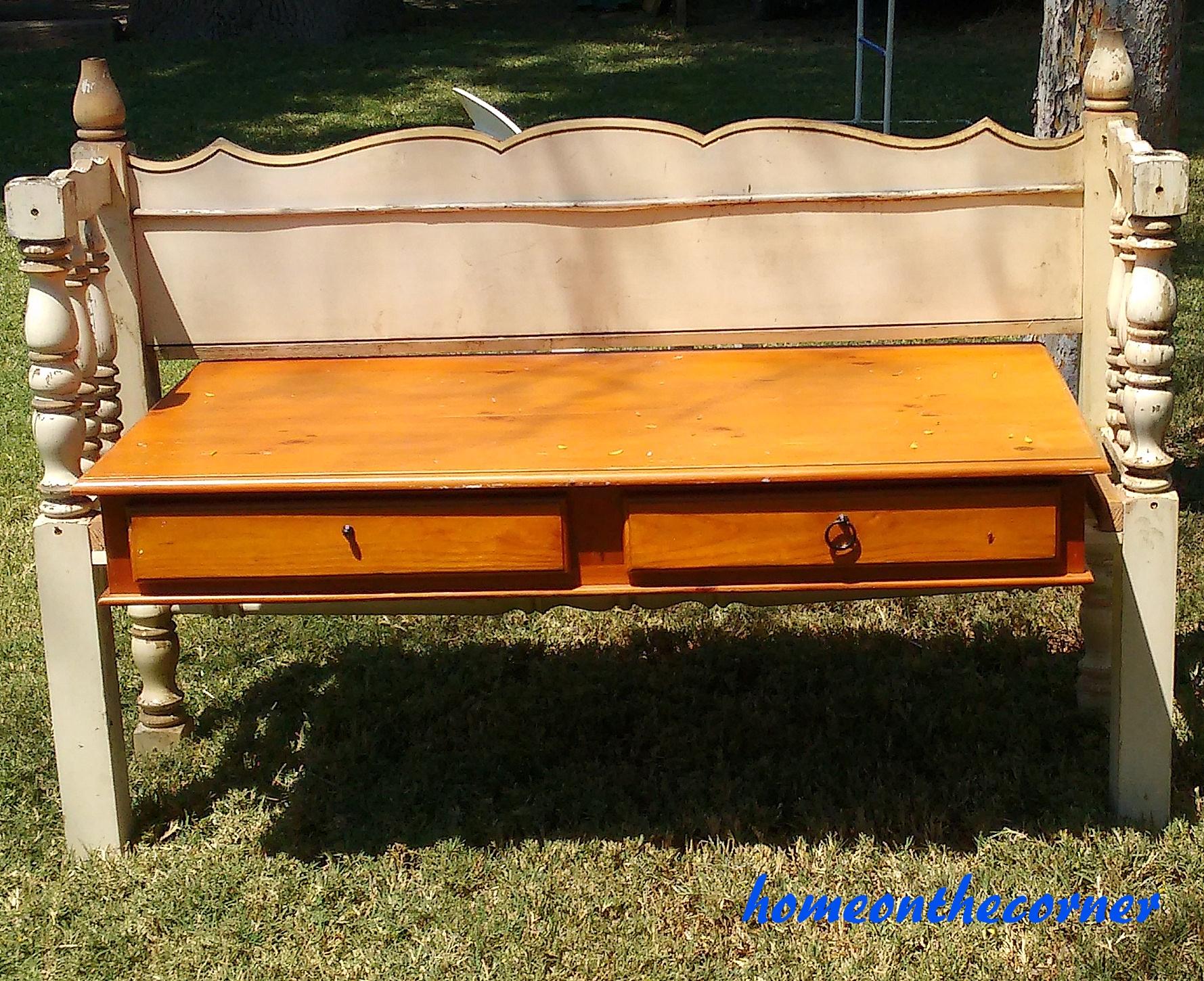 Bench By Bed: Bedframe Plus Desk Equals Bench