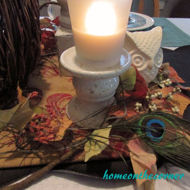 Fall Tablescape Peacock Feather 2015