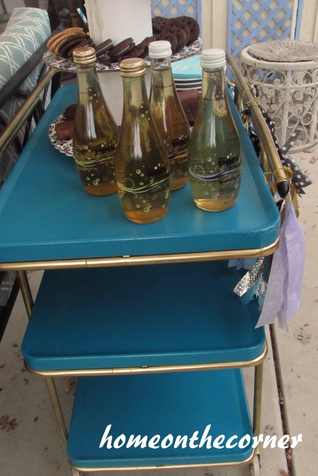 vintage beverage cart side