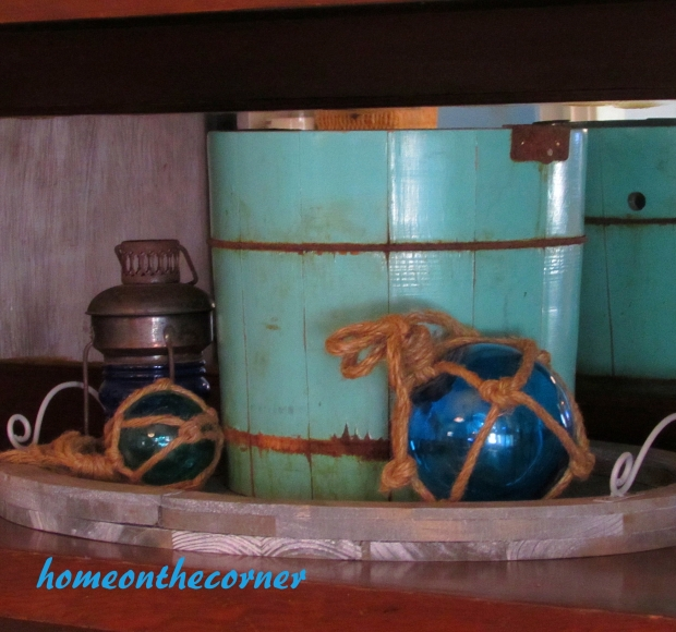 2015 Home Tour Dining Room Turquoise Bucket Fishing Floats