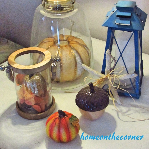 2015 Home Tour Fall Corner Table Pumpkins, Acorn
