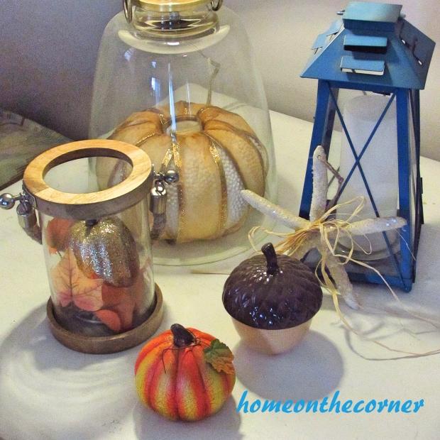 2015 Home Tour Fall Corner Table Pumpkins, Acorn