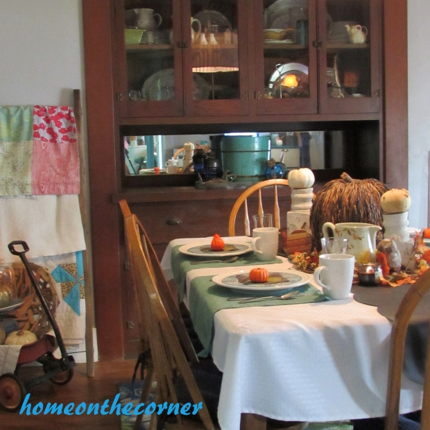 2015 Home Tour Fall Dining Room Table and Hutch