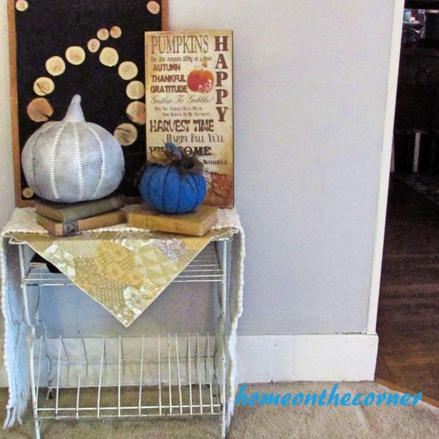 2015 Home Tour Fall Metal Table Pumpkins, Subway Art