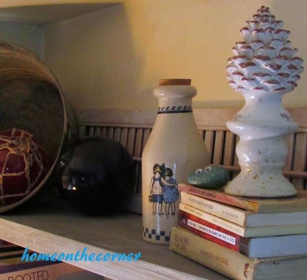 2015 Home Tour Fall Open Bookshelves Galvanized Bucket, Fishing Floats