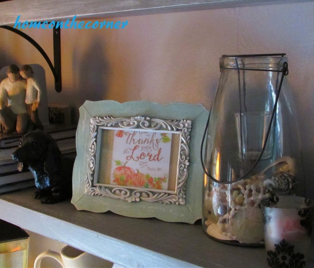 2015 Home Tour Fall Open Shelving Dog, Thanks to the Lord