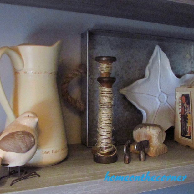 2015 Home Tour Fall Open Shelving PIncher, Bird, Candlesticks