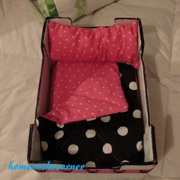 upcycle clementine doll bed black dots