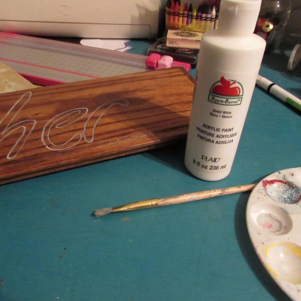 Wood Gather Sign Apple Barrel Paint