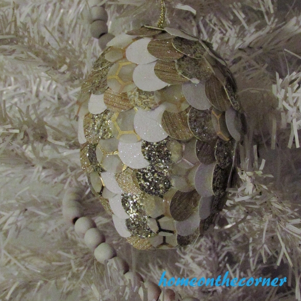Christmas Pinecone Ornament on White