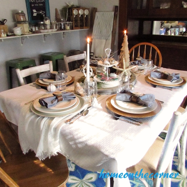 Dining Room Christmas Tablescape 2015 White and Gold