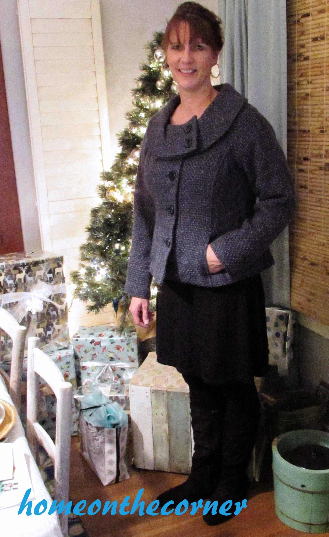 Fashion 2015 Pam Blue and Black Coat