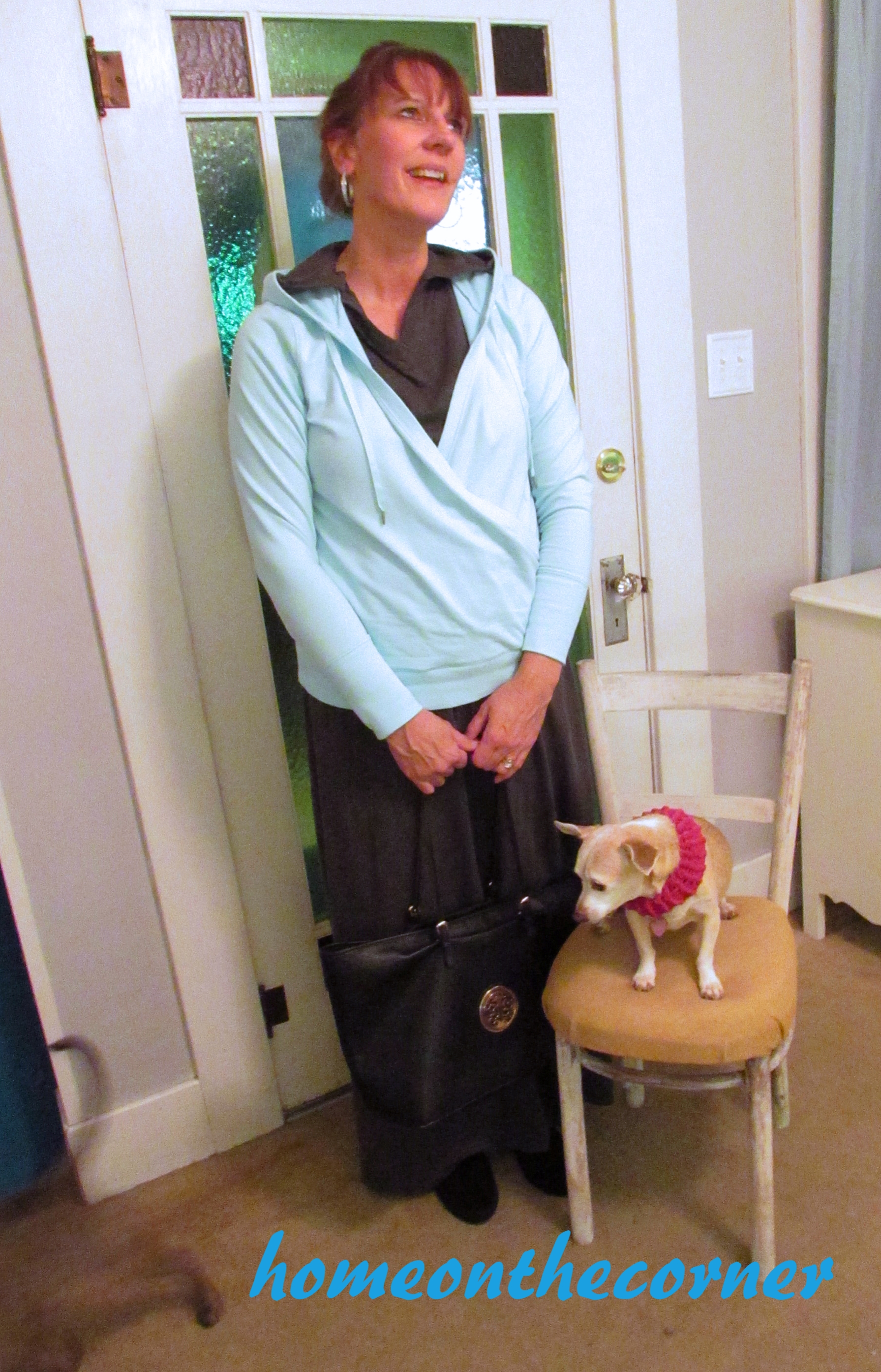 Fashion 2015 Pam Grey Dress and Turquoise Pullover