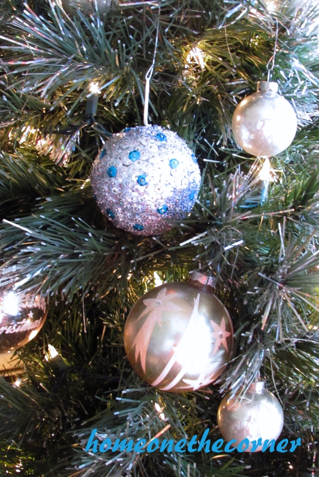 Sequin Ornament on the tree