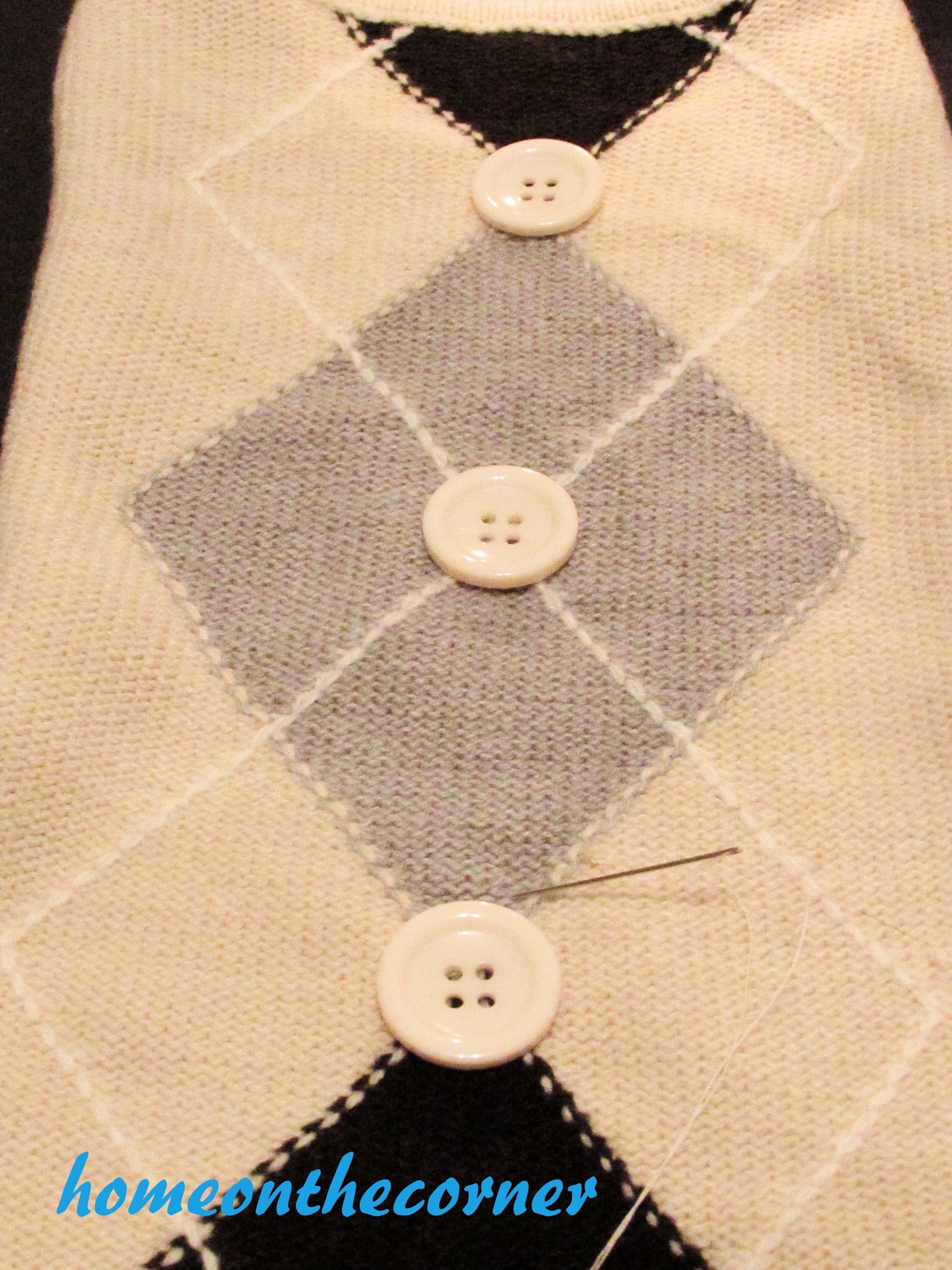 sweater stocking tutorial buttons