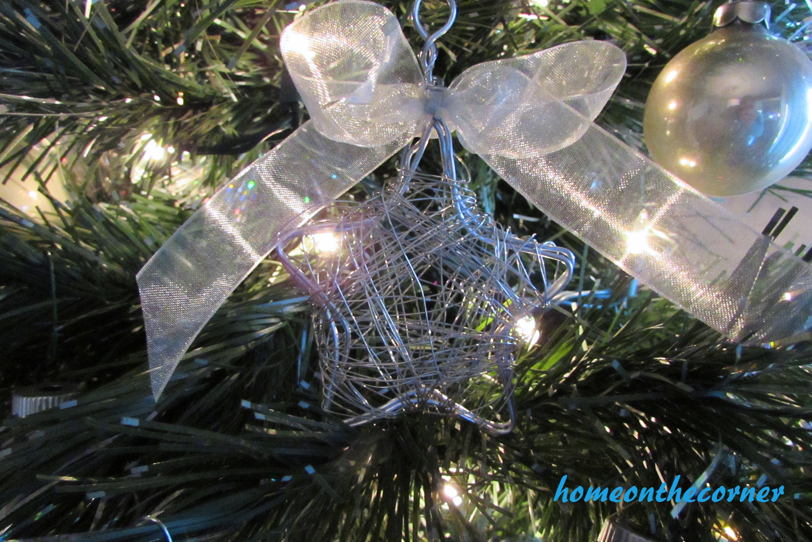 wire star ornament sheer bow