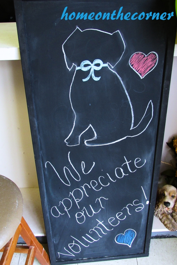 animal shelter volunteer chalkboard dog sign