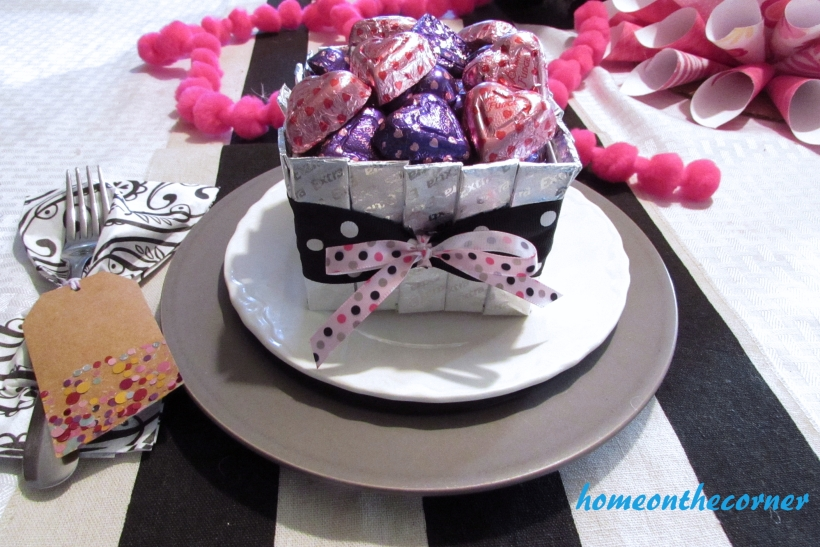 silver gum and candy valentine box