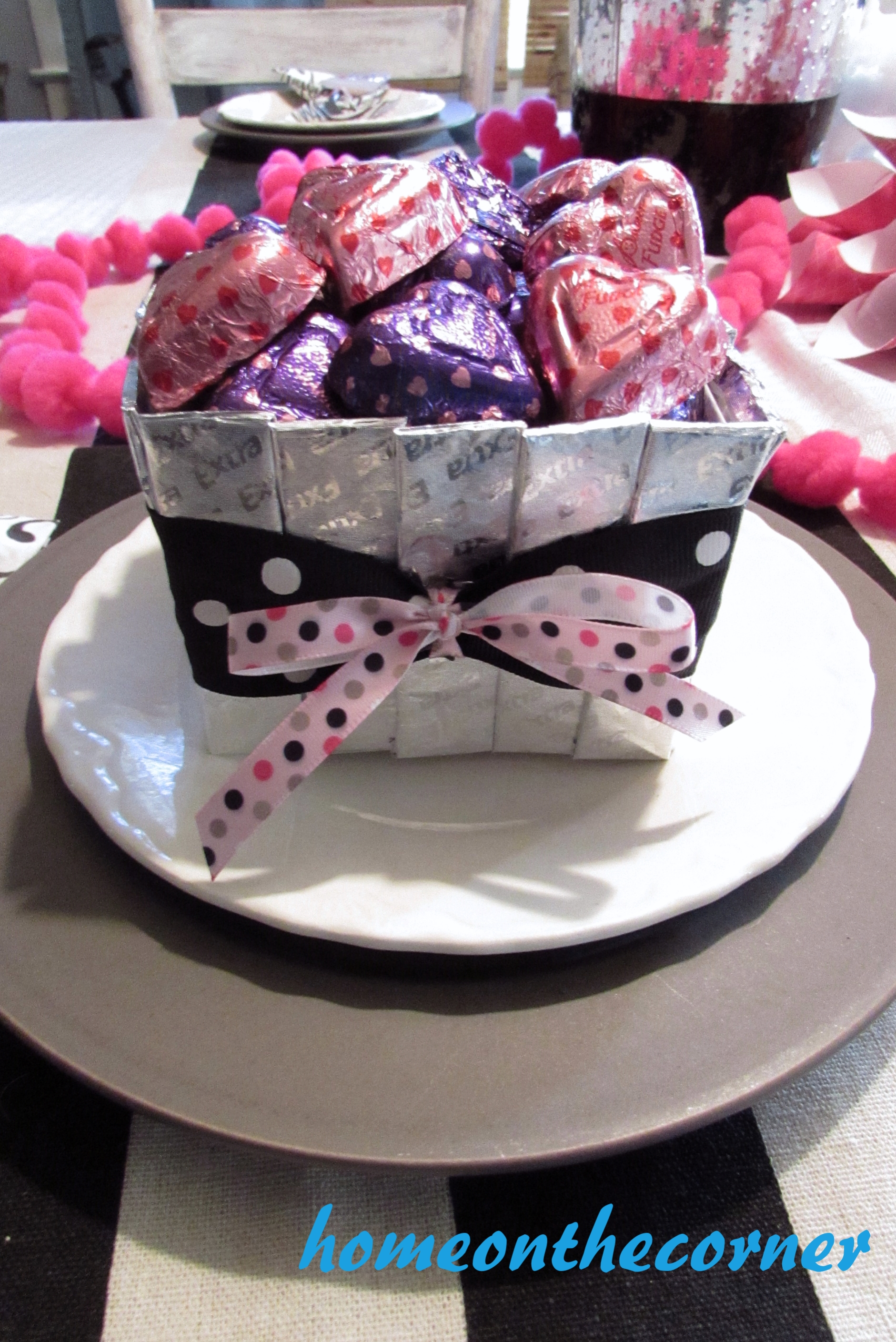 silver gum and heart candy valentine box