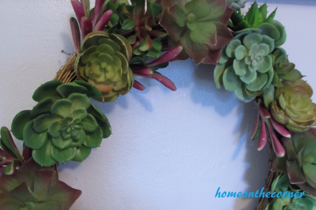 succulent wreath closeup