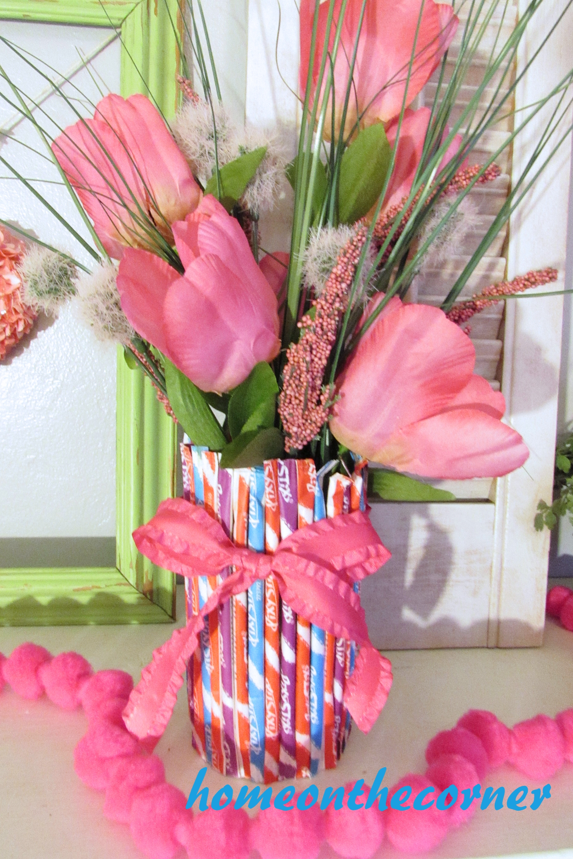 valentine mantel pixie stix flower vase 2016