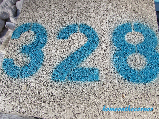 concrete painted planter address number