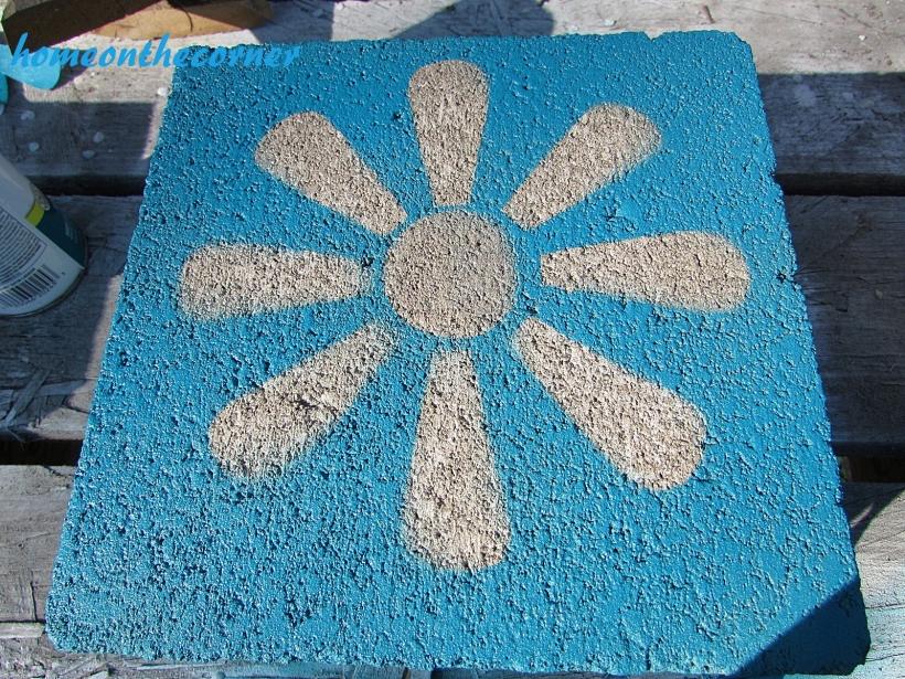 concrete painted planter flower stencil