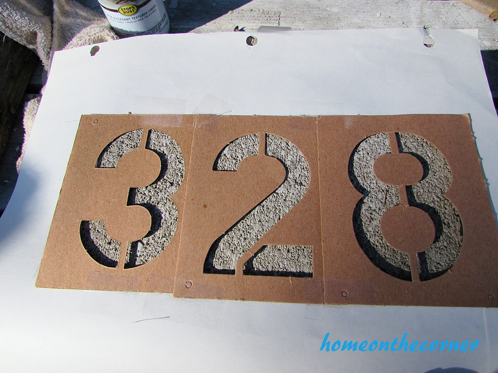 concrete painted planter number stencil