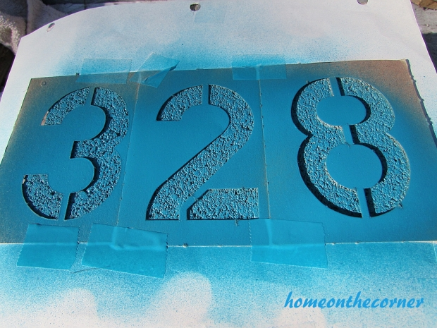 concrete painted planter numbers lagoon spray paint