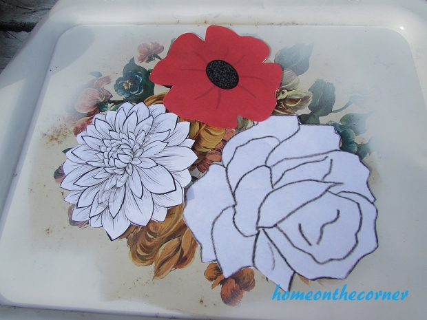 floral metal trays flower cutouts