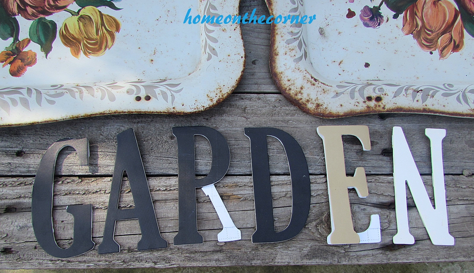 floral metal trays garden letters