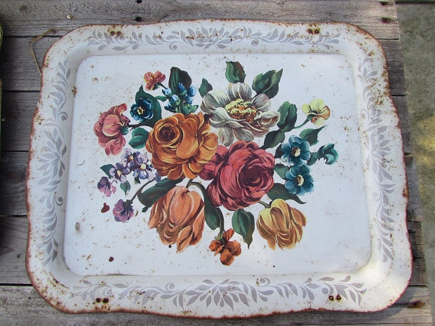 floral metal trays makeover single tray