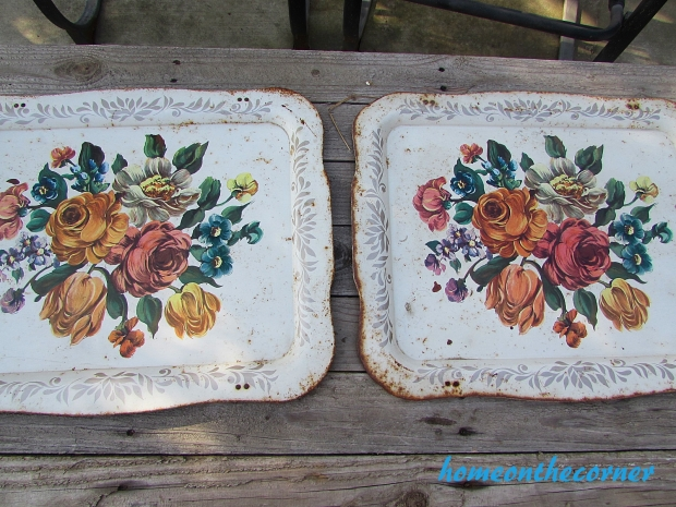 floral metal trays makeover