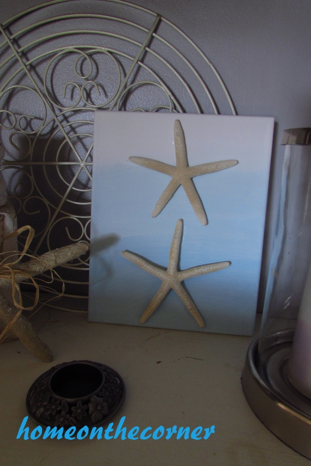ombre painted canvas with 2 starfish