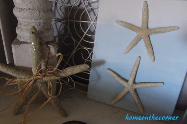 ombre painted  canvas with starfish