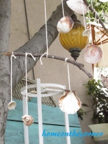 boho seashell mobile clam, snail