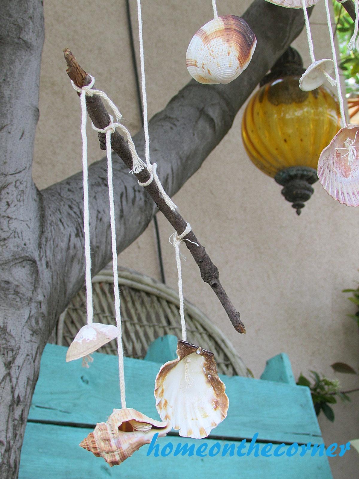 boho seashell mobile hanging lamp, shells