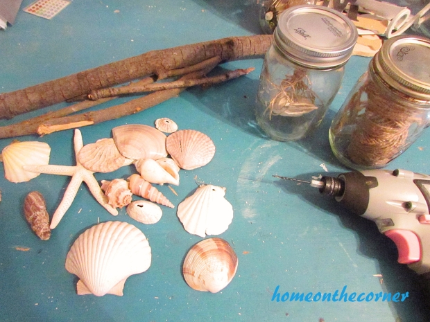 Boho Seashell Mobile pieces
