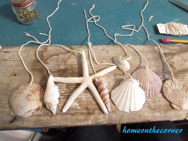 boho seashell mobile strings and shells