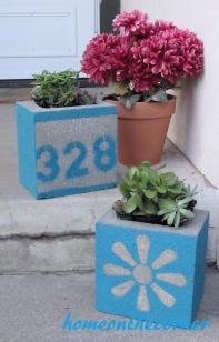 concrete painted planter front porch