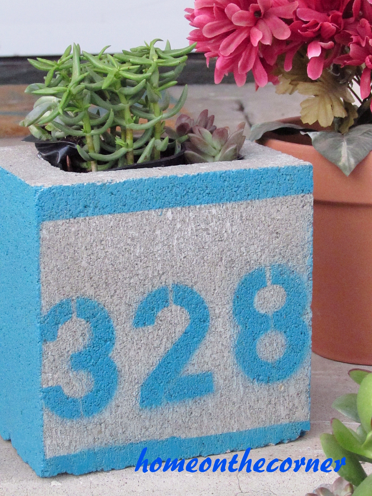 concrete planter painted address