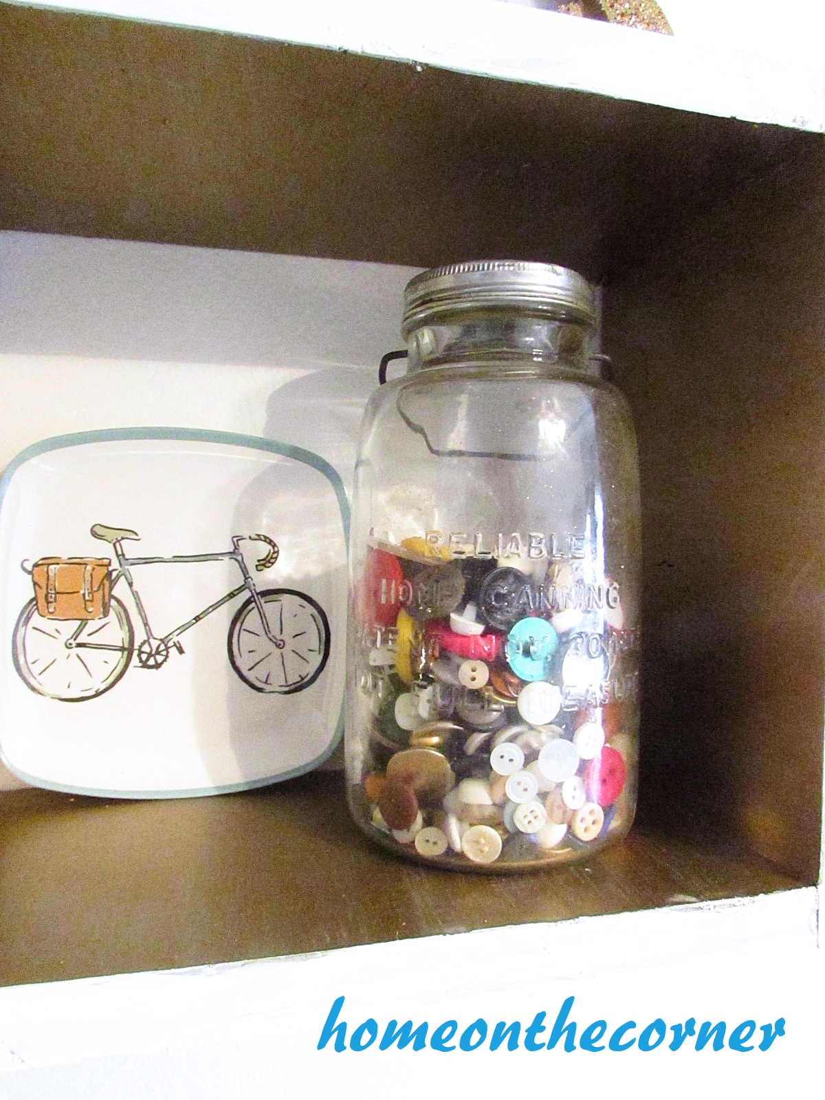 corner news buttons and bicycle