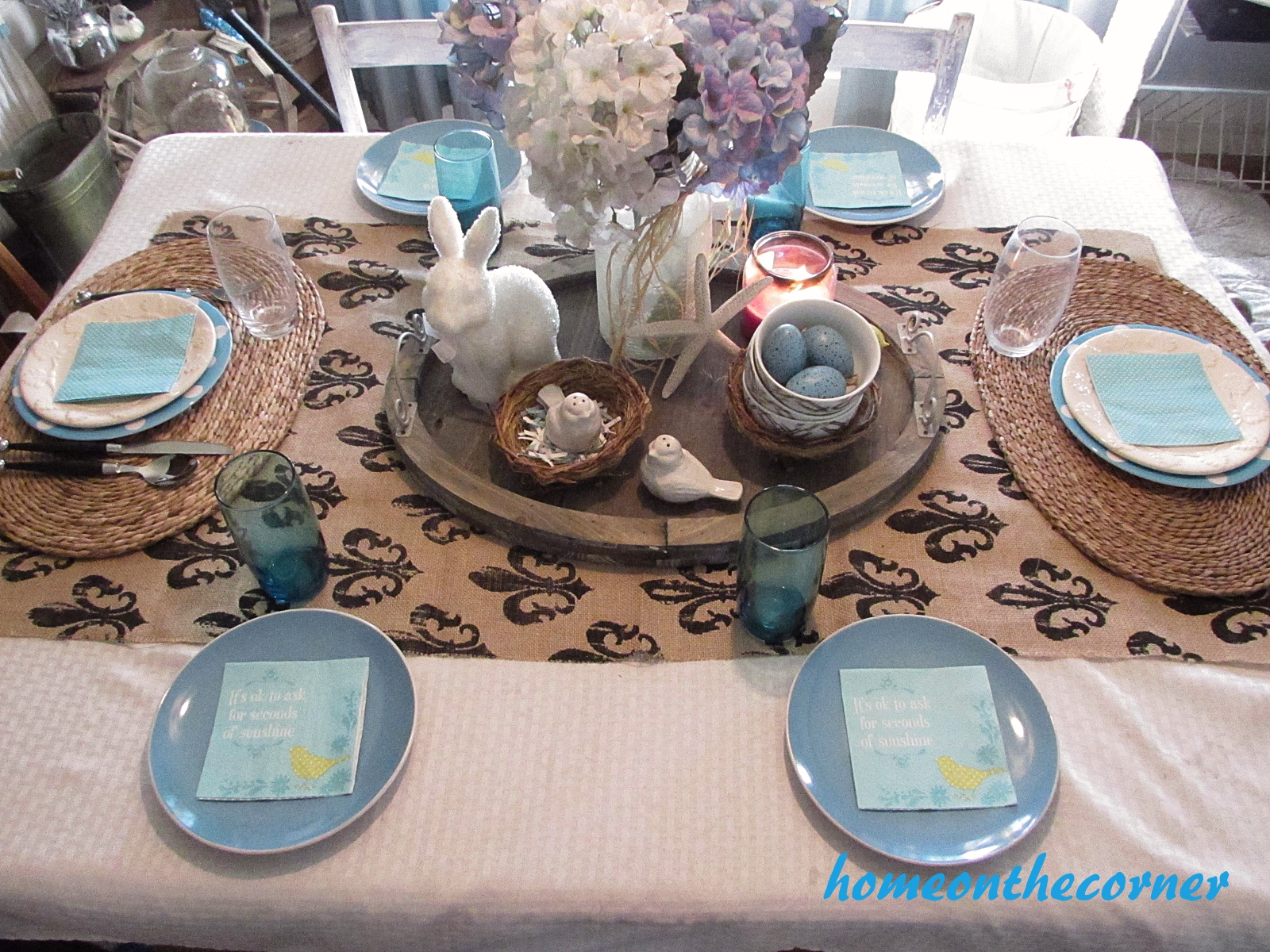 turquoise and white spring tablescape 2016