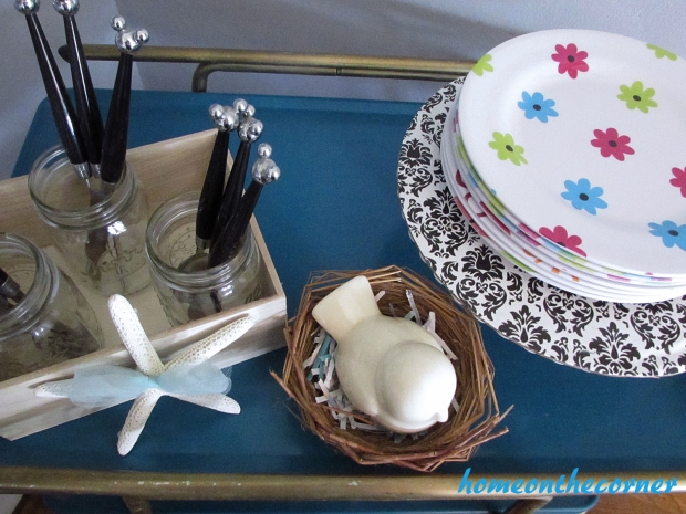 turquoise and white spring tablescape bar cart top