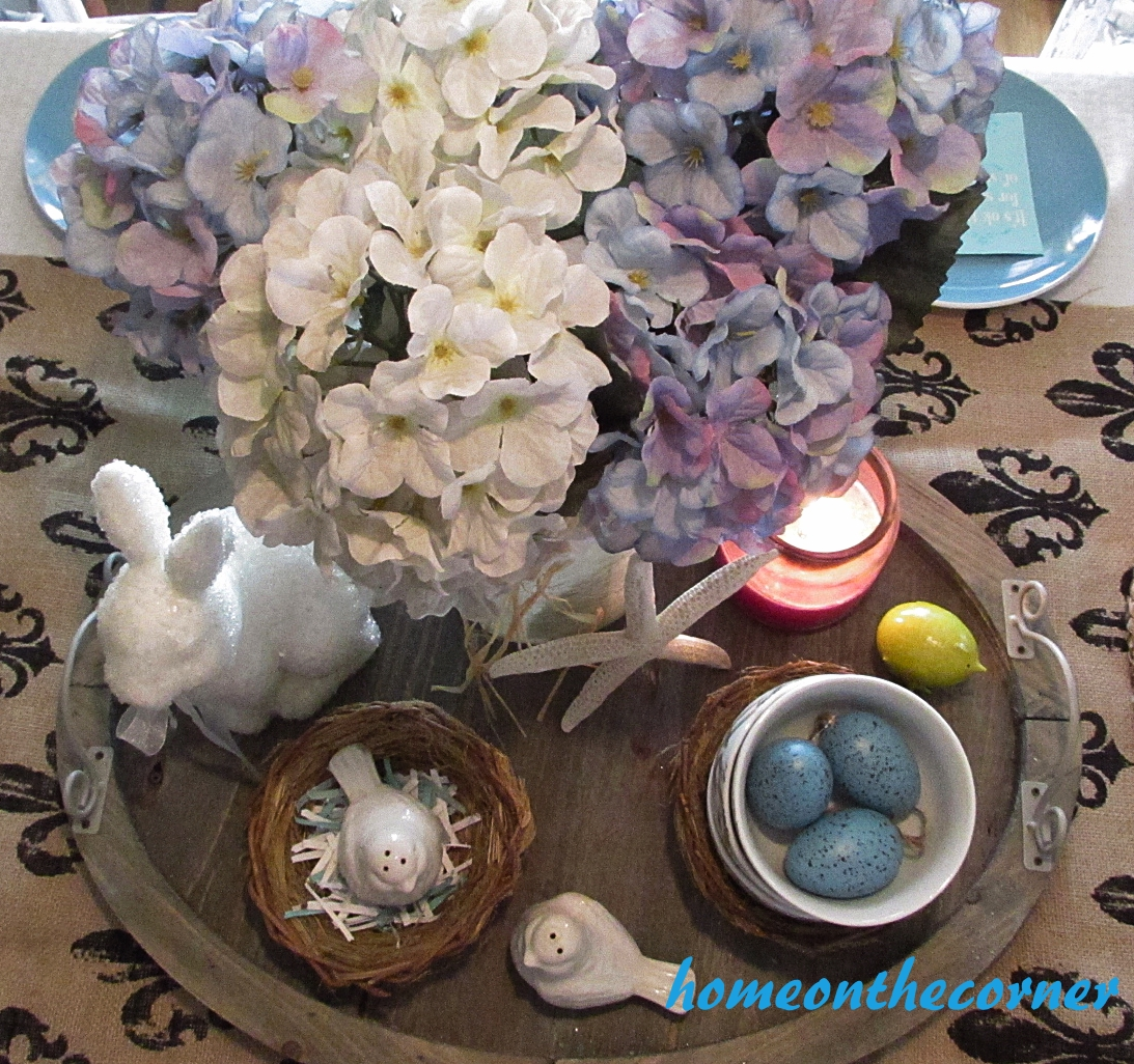 turquoise and white spring tablescape centerpiece