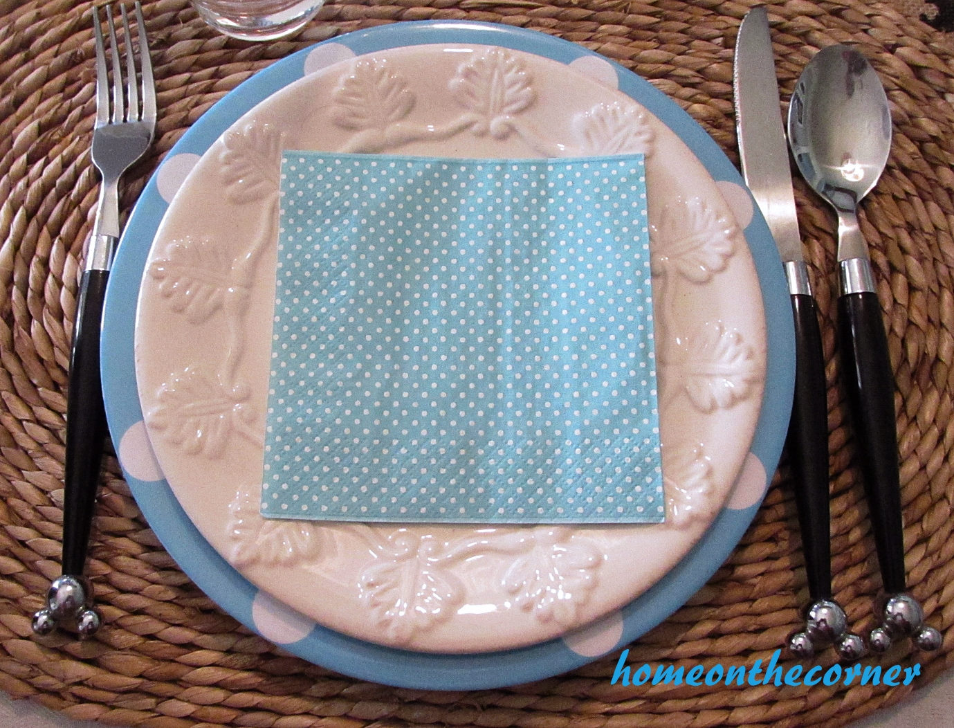 turquoise and white spring tablescape plates and disney flatware
