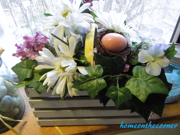 white crate and easter floral
