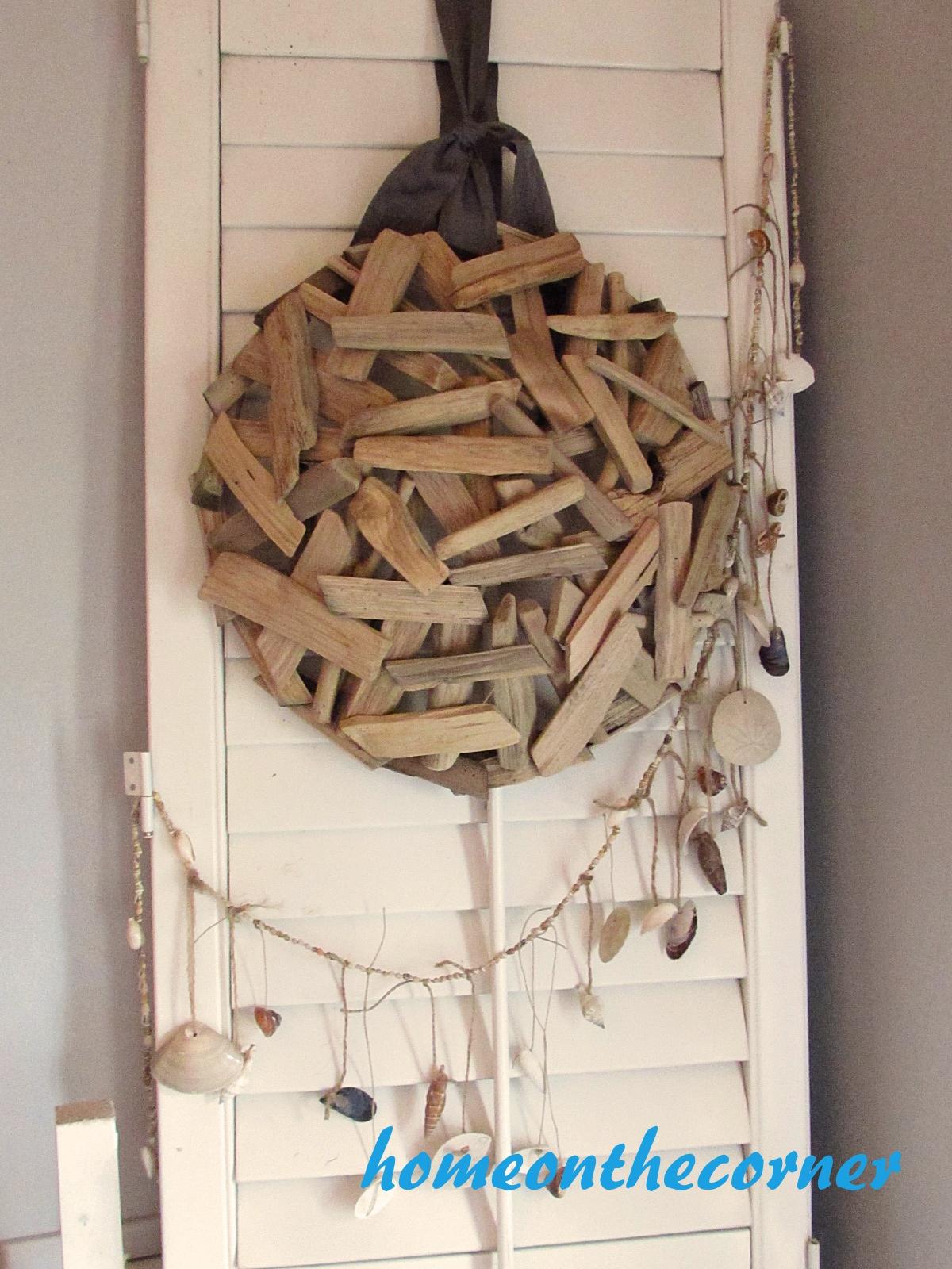 dining room refresh driftwood bowl seashell garland