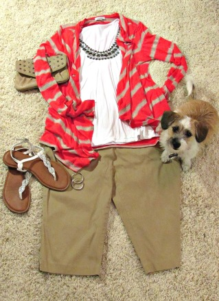 finds and fashions tan capris and coral jacket