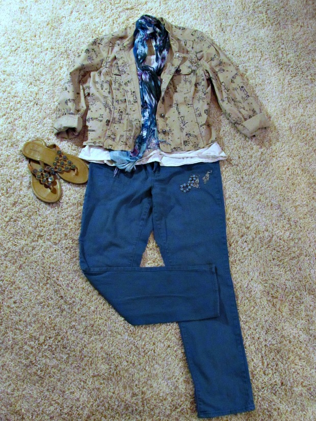 Finds and Fashions Tan Dog Jacket teal jeans